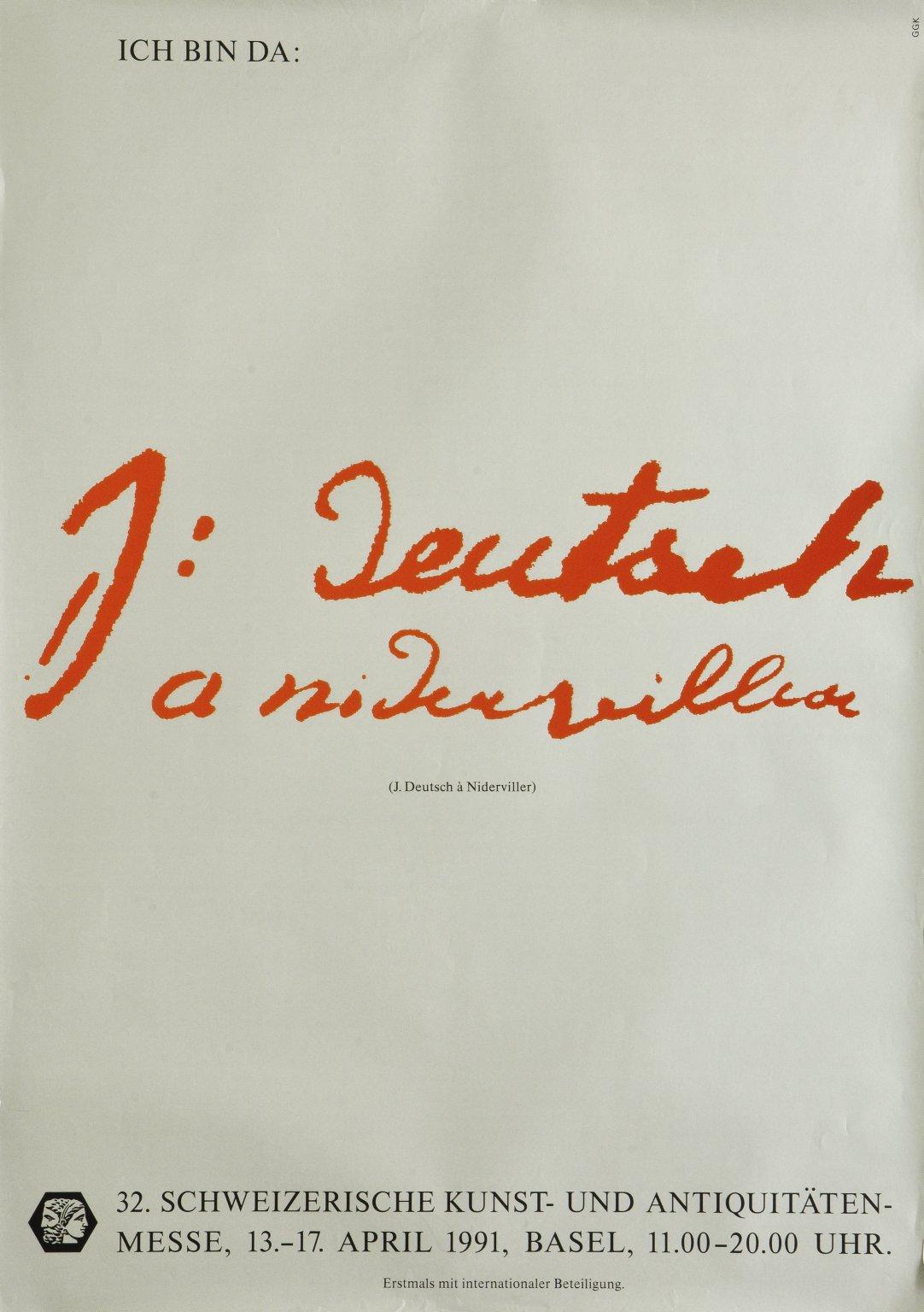 Schweizerische Kunst-und Antiquitätenmesse (KAM): J. Deutsch à Niderviller